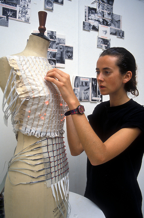Fashion student working on her MA project at the Royal College of Art, London,