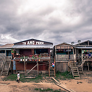 Islândia, Peru. A quiet  fishing village on the border between Peru and Brazil along the Yavarí river, Amazonia