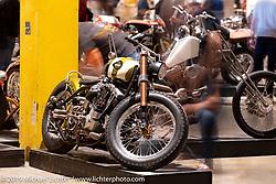Christian Newman's 1978 Harley-Davidson split-rocker Shovelhead turbo custom from Buffalo, New York on display at the Handbuilt Show. Austin, Austin USA. Sunday, April 14, 2019. Photography ©2019 Michael Lichter.
