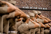 Sep 14, 2013; College Station, TX, USA; Texas A&M Aggies Corps of Cadets salute during the National Anthem against the Alabama Crimson Tide during the first half at Kyle Field. Mandatory Credit: Thomas Campbell-USA TODAY Sports