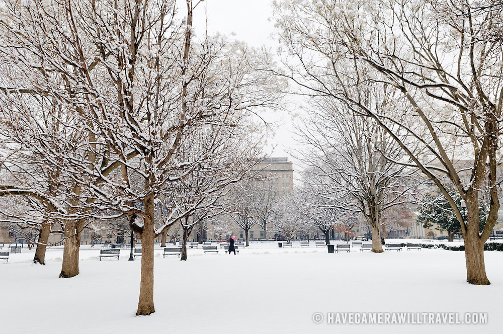 Washington Monuments in the snow