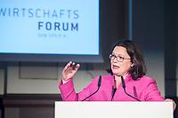 07 JUN 2018, BERLIN/GERMANY:<br /> Andrea Nahles, SPD, Fraktions- und Parteivorsitzende, haelt eine Rede auf dem Parlamentarischen Abend des SPD WIrtschaftsforums, Meistersaal<br /> IMAGE: 20180607-01-179