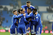 Cardiff City players celebrate with goal scorer Sean Morrison (in huddle) after he scores his teams 1st goal. EFL Skybet championship match, Cardiff city v Barnsley at the Cardiff city stadium in Cardiff, South Wales on Saturday 17th December 2016.<br /> pic by Carl Robertson, Andrew Orchard sports photography.