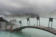 The Blue Lagoon, a geothermal spa heated with the water from the Svartsengi thermal power sation Iceland.