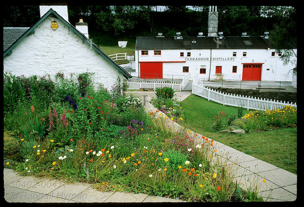 Wildflowers accent the red & white bldgs of Edradour Distillery, Scotland's smallest; Pitlochry. Scotland