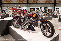 Dave Perewitz calls this bike he built in 1988 Nolan's, named for his close friend that willed it back to him and Jody when he passed away in 2019. This timeless 89 ci Evo with two front cylinder heads that looks like it could have been unveiled as new today was on display in the Heavy Mettle - Motorcycles and Art with Moxie exhibition at the Sturgis Buffalo Chip. This is the 2020 iteration of the annual Motorcycles as Art series curated and produced by Michael Lichter. Sturgis, SD, USA. Friday, August 7, 2020. Photography ©2020 Michael Lichter.