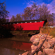 Everett Road covered bridge stands in Cuyahoga Valley National Park, Ohio.