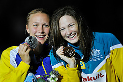 02.08.2013, Barcelona, ESP, FINA, Weltmeisterschaften für Wassersport, Medailliengewinner, im Bild Cate Campbell from Australia, gold medal and Sarah Sjostrom, from Sweden, silver medal at 100m Freestyle Women Finalist Victory Ceremony // during the FINA worldchampionship of waterpolo, medalists in Barcelona, Spain on 2013/08/02. EXPA Pictures © 2013, PhotoCredit: EXPA/ Pixsell/ HaloPix<br /> <br /> ***** ATTENTION - for AUT, SLO, SUI, ITA, FRA only *****