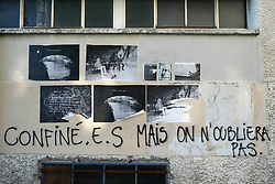 A sign about the Corona Virus is hung on a balcony in Paris during COVID-19 as a strict lockdown is effective to stop the spread of the Coronavirus disease. Shot in Paris, France on April 27, 2020. Photo by Aurore Marechal/ABACAPRESS.COM