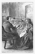 Mrs Tulliver visiting lawyer Waken to ask him not to bid for Dorlcote Mill at the forthcoming auction. Illustration by Walter James Allen (active 1859-1891) for an undated 19th century edition of  'The Mill on the Floss' by George Eliot, originally published 1860.