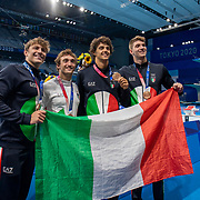 TOKYO, JAPAN - AUGUST 1:  The Italian team of Thomas Ceccon,  Nicolo Martinenghi, Federico Burdisso and Alessandro Miressi after winning the bronze medal in the 4x100m Medley relay during the Swimming Finals nat the Tokyo Aquatic Centre at the Tokyo 2020 Summer Olympic Games on August 1, 2021 in Tokyo, Japan. (Photo by Tim Clayton/Corbis via Getty Images)