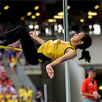 Fatimah Zahra Bte Mohd Rafique (#186) of Victoria Junior College clinches first with a height of 1.56m in the A Division girls' high jump final. (Photo © Eileen Chew/Red Sports)