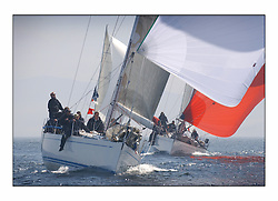 Racing at the Bell Lawrie Yachting Series in Tarbert Loch Fyne. Saturday racing started overcast but lifted throughout the day...Class 1 winners, Crackerjack GBR6R, a Swan 45,  Cruising towards the Gybe mark with Fever and the rest of the Class one fleet behind...