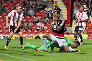 Nottingham Forest forward Apostolos Vellios (39) after a miss during the EFL Sky Bet Championship match between Brentford and Nottingham Forest at Griffin Park, London, England on 16 August 2016. Photo by Matthew Redman.