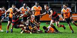 Cheetahs' Teboho Mohoje is tackled by Dragons' Sam Hobbs<br /> <br /> Photographer Craig Thomas/Replay Images<br /> <br /> Guinness PRO14 Round 18 - Dragons v Cheetahs - Friday 23rd March 2018 - Rodney Parade - Newport<br /> <br /> World Copyright © Replay Images . All rights reserved. info@replayimages.co.uk - http://replayimages.co.uk