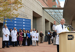 Anthony Fauci (R), Director of the National Institute of Allergy and Infectious Diseases, speaks during a news conference in Maryland, the United States, on Oct. 24, 2014. Nina Pham, who contracted Ebola while caring for a patient from Liberia was released from the hospital Friday, officials at the U.S. National Institutes of Health (NIH) treating her said in Maryland. EXPA Pictures © 2014, PhotoCredit: EXPA/ Photoshot/ Bao Dandan<br /> <br /> *****ATTENTION - for AUT, SLO, CRO, SRB, BIH, MAZ only*****