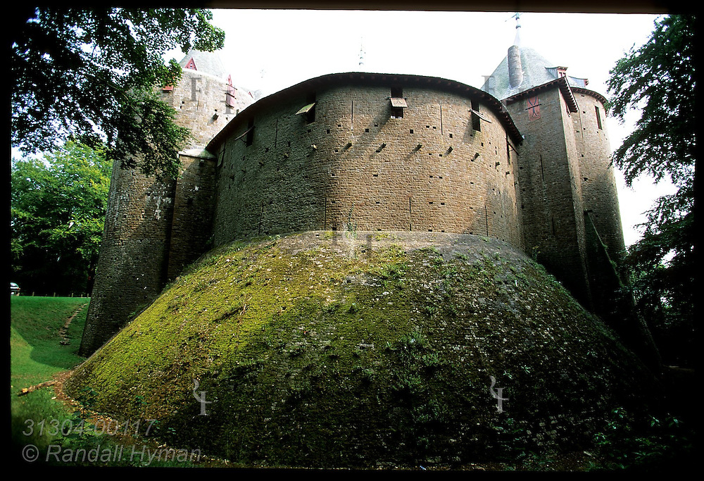 Shell wall runs from well tower to kitchen tower atop massive medieval foundations of Castell Coch; Cardiff, Wales