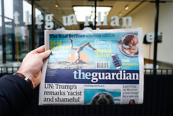 © Licensed to London News Pictures. 13/01/2018. London, UK. The last Berliner format Guardian newspaper is seen outside the Guardian offices in Kings Cross. From Monday, the newspaper will be switching to a tabloid format, after 12 years of the Berliner format. Photo credit : Tom Nicholson/LNP