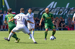 May 13, 2018 - Portland, OR, U.S. - PORTLAND, OR - MAY 13: Portland Timbers Samuel Armenteros looks for a pass during the Portland Timbers 1-0 victory over the Seattle Sounders on May 13, 2018, at Providence Park in Portland, OR. (Photo by Diego Diaz/Icon Sportswire) (Credit Image: © Diego Diaz/Icon SMI via ZUMA Press)