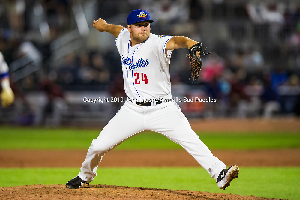 Amarillo Sod Poodles pitcher David Bednar (24) pitches against the Corpus Christi Hooks on Saturday, July 6, 2019, at HODGETOWN in Amarillo, Texas. [Photo by John Moore/Amarillo Sod Poodles]