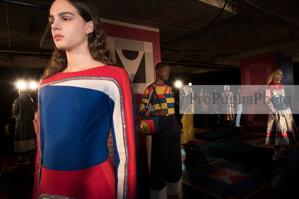 London, 17th February 2017. Sadiew Williams Autumn Winter 17 collection presentation at London Fashion Week. London-born designer Mercedes (Sadie) Williams creates modern textile driven fashion, juxtaposing modernity with craft. <br /> Her sensibility for combining a sporty tomboyish with grown-up femininity has been a signature since graduating with Distinction from the CSM MA Fashion course in 2013. She went on to become a Selfridges 'Bright Young Thing' and was included in 'Designs of The Year Exhibition 2014' at The Design Museum. <br /> <br /> She has worked for designers including Marc By Marc Jacobs, J W Anderson and Katie Hillier and many stylists over the years and undertaken projects for Vogue Festival, Manchester Art Gallery, Barbie and designed an incredibly successful collection for & Other Stories. <br /> <br /> Since AW15 she has received NEWGEN sponsorship to support her own label. She now presents on schedule at LFW and showrooms at PFW. <br /> <br /> She continues to create graphic and tactile work that capitalises on her strengths in print & textile innovation, bringing shimmer and sparkle to her collections through her signature use of metallic. Since being awarded a place on the 'Swarovski collective 2017' she has been incorporating crystals into her work to playful and original effect. London, 17th February 2017. Sadie Williams Autumn Winter 17 collection presentation at London Fashion Week. London-born designer Mercedes (Sadie) Williams creates modern textile driven fashion, juxtaposing modernity with craft.
