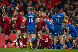 December 30, 2018 - Limerick, Ireland - Munster players celebrate Chris Cloete try during the Guinness PRO14 match between Munster Rugby and Leinster Rugby at Thomond Park in Limerick, Ireland on December 29, 2018  (Credit Image: © Andrew Surma/NurPhoto via ZUMA Press)