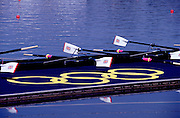 Sydney, AUSTRALIA. GBR M8+,  boat and ors at the awards dock.  at  the Olympic Regatta, Penrith Lakes. NSW. Credit [Peter Spurrier/Intersport Images] .... 2000 Olympic Regatta Sydney International Regatta Centre (SIRC) 2000 Olympic Rowing Regatta00085138.tif