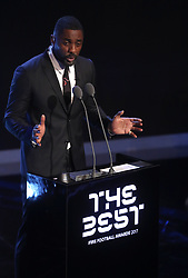 Host Idris Elba on stage during the Best FIFA Football Awards 2017 at the Palladium Theatre, London.