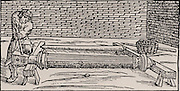 Making a wooden pattern from which moulds for casting gun barrels could be formed in sand. From 'De la pirotechnia' by Vannoccio Biringuccio (Venice, 1540).