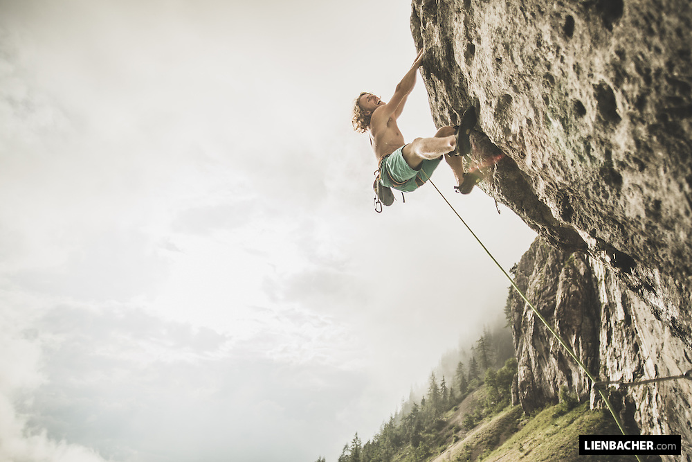 Mich climbs a nice 7C after the bad weather has passed