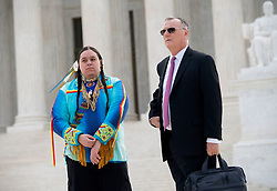 April 27, 2017 - Washington, District of Columbia, U.S - Youth plaintiff JOURNEY ZEPHIER and attorney PHILIP GREGORY stand on the steps of the Supreme Court in Washington, D.C.,  during as press conference . Zephier is one of 21 plaintiffs represented by Our Children's Trust in a landmark federal lawsuit which accuses the federal government of violating their constitutional rights. (Credit Image: © Robin Loznak via ZUMA Wire)