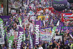 © under license to London News Pictures.  26/03/11 Protestors at the massive Anti-cuts march in London. Photo credit should read: Olivia Harris/ London News Pictures
