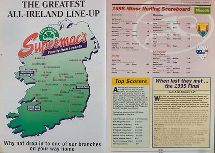 All Ireland Senior Hurling Championship - Final, .13.09.1998, 09.13.1998, 13th September 1998, .13091998AISHCF,.Senior Kilkenny v Offaly, .Minor Kilkenny v Cork,.Offaly 2-16, Kilkenny 1-13,.Supermacs Family Restaurant, .