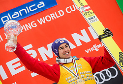 Stefan Kraft (AUT), winner in Overall Ski Flying classification celebrates at trophy ceremony after the Ski Flying Hill Men's Individual Competition at Day 4 of FIS Ski Jumping World Cup Final 2017, on March 26, 2017 in Planica, Slovenia. Photo by Vid Ponikvar / Sportida