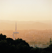 A view of the Montjuic Communications Tower (popularly known as Torre Calatrava) on the hillside Montjuic, in Barcelona, Spain