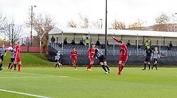 KIRKBY, ENGLAND - Saturday, October 31, 2020: Liverpool's Layton Stewart scores the fourth goal during the Under-18 Premier League match between Liverpool FC Under-18's and Newcastle United FC Under-18's at the Liverpool Academy. Liverpool won 4-1. (Pic by David Rawcliffe/Propaganda)