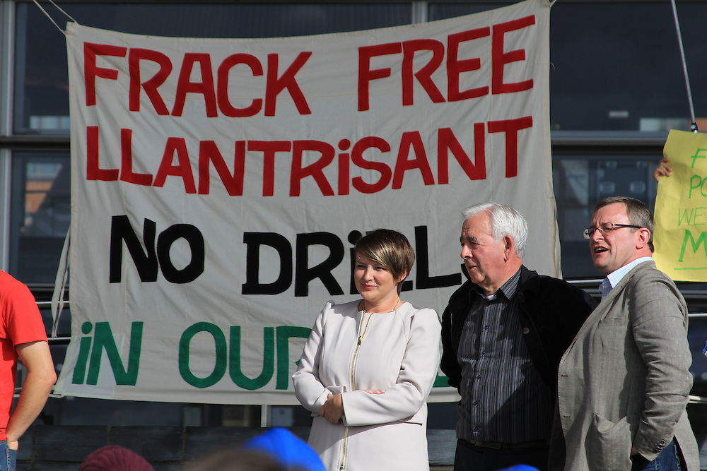 Bethan Jenkins AM, Lord Dafydd Wigley and William Powell AM speak at an anti-fracking rally outside Y Senedd, Cardiff