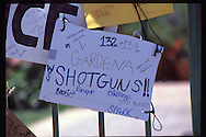 The OJ Simpson trial and media circus.<br /> A sign left on OJ Simpson's Brentwood home front gate by gang members.