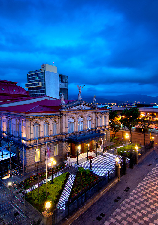 Costa Rica, San Jose, The National Theater, Built In 1897, Finest Historical Building In San Jose, Based On The Architecutre Of The Paris Opera House, The Plaza of Culture, Dawn