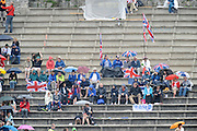 Bled, SLOVENIA,  GBR Supporters sitting in the wet stands, on the second day of the FISA World Cup, Bled. Held on Lake Bled.  Saturday  29/05/2010  [Mandatory Credit Peter Spurrier/ Intersport Images] Cop last event as international level.