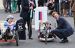 Prince Harry talks to wounded service personnel before they set off on the 2013 Hero Ride during a visit to the Help For Heroes Recovery Centre in Tidworth, Wiltshire, Monday, 20th May 2013 Picture by:  Stephen Lock / i-Images