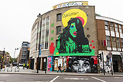 A street view showing new street art graffiti in Shoreditch, east London, England on August 19, 2018 that pays tribute to the singer, Aretha Franklin who has died following a battle with pancreatic cancer.  The mural has been created by artist, Jules Muck in collaboration with Global Street Art.
