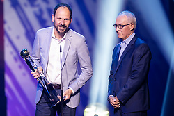 Ante Simundza head coach of NK Mura with trophy for best head coach in Prva Liga Telekom Slovenije for season 2018/19 and Dr. Zdenko Verdenik during SPINS XI Nogometna Gala 2019 event when presented best football players of Prva liga Telekom Slovenije in season 2018/19, on May 19, 2019 in Slovene National Theatre Opera and Ballet Ljubljana, Slovenia. Photo by Grega Valancic / Sportida.com