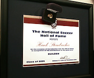 The Hall of Fame ring and plaque wait in the wings before being presented to Hank Steinbrecher (not shown) on Monday, August 29, 2005, during the 2005 National Soccer Hall of Fame Induction Ceremony in Oneonta, New York.
