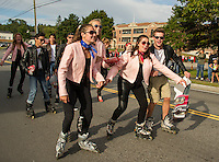 The Nifty Fifty Senior class donned skates for their 1950's salute during Friday afternoon's Homecoming parade.  (Karen Bobotas/for the Laconia Daily Sun)