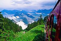 Cog railroad climbing to the top of Pilatus, near Luzern, Switzerland