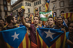 October 1, 2018 - Barcelona, Catalonia, Spain - Striking Catalan pro-independence students shout slogans as they protest for the implementation of the secession referendum's result at its anniversary at October 1st. (Credit Image: © Matthias OesterleZUMA Wire)