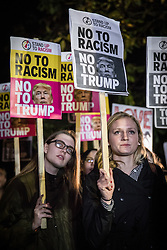 © Licensed to London News Pictures. 09/11/2016. London, UK. People protest against the election of Donald Trump to the Presidency of the United States outside the American Embassy in London. Photo credit: Rob Pinney/LNP