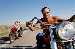 """The One and Only, Sturgis, SD, 2001<br /> <br /> Limited Edition Print from an edition of 50. Photo ©2001 Michael Lichter.<br /> <br /> The Story:""""There was never anyone like George before and there will never be another one. He was one of the few guys you meet in life that become the one and only.  George had 2 lives, one from before he went to prison (he was there for 9 years), and then one after he got out. After he got out, he appreciated life so much more. He loved motorcycles because that was his way of realizing he was free of the bars that locked him up.  It was riding and partying that meant everything to George, he out rode the riders, he out-partied the partiers."""" - Billy Lane on George Jupin, 2003<br /> <br /> George Jupin, RIP May 25, 1962 - January 21, 2003"""