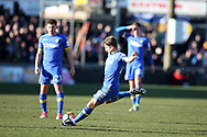 Gaetano Berardi of Leeds Utd (28) scores his teams 1st goal. The Emirates FA Cup , 3rd round match, Newport county v Leeds Utd at Rodney Parade in Newport, South Wales on Sunday 7th January 2018.<br /> pic by Andrew Orchard,  Andrew Orchard sports photography.